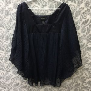 Lane Bryant 26/28 sheer blue dotted blouse